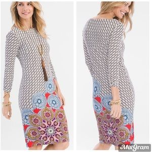 Chico's Printed Ruches Sleeve Dress